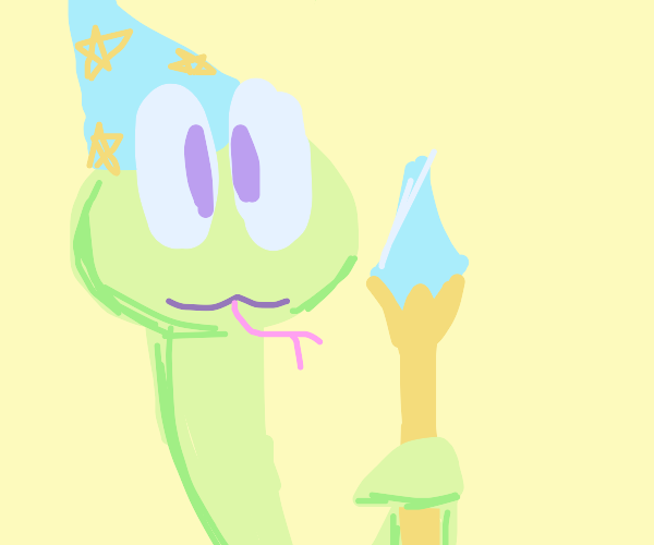 Wizard snake holding a magic staff