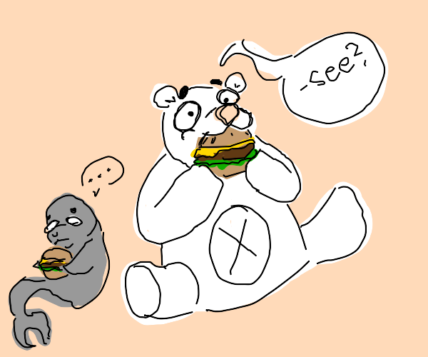 Polar bear shows how to eat burger