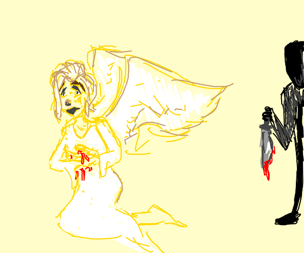 Yellow angel gets stabed