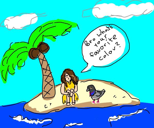 Woman on island talking to pigeon