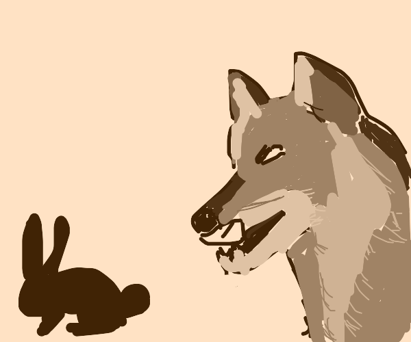 wolf wants to eat rabbit