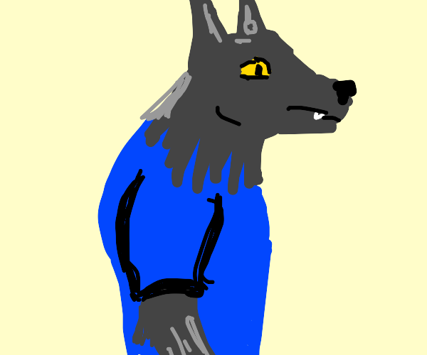A wolfman in a blue shirt