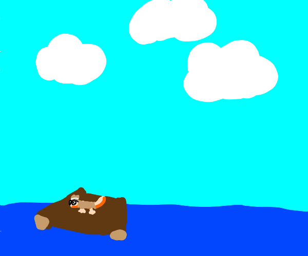 Incognito newt on a raft