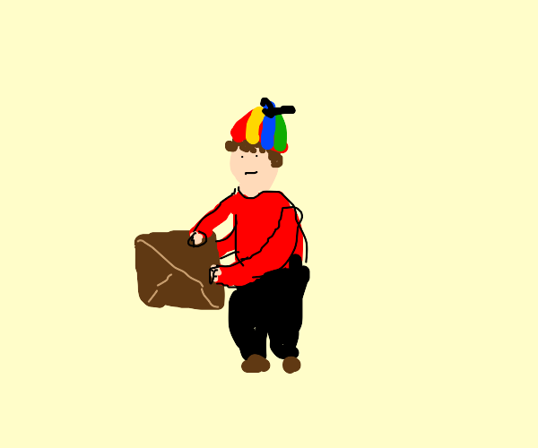 Boy with 3 arms picking up a box