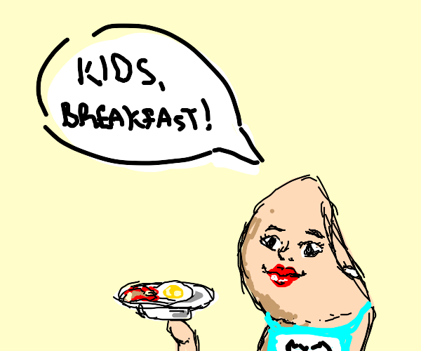 Mom thumb cooking eggs