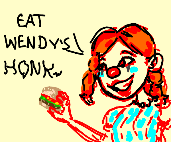 Wendy's girl but a clown and holding a burger