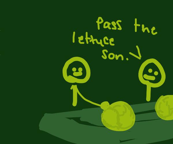 family eats lettuce feast