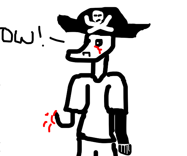 pirate stabs himself under the eye