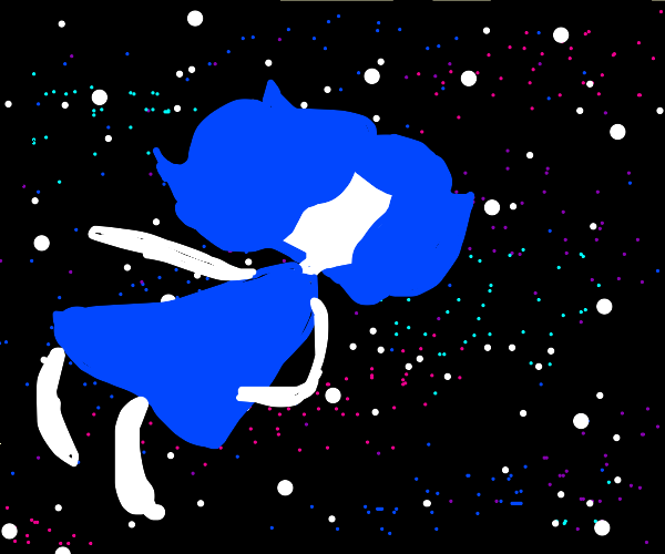 blue and white girl floating in sea of stars