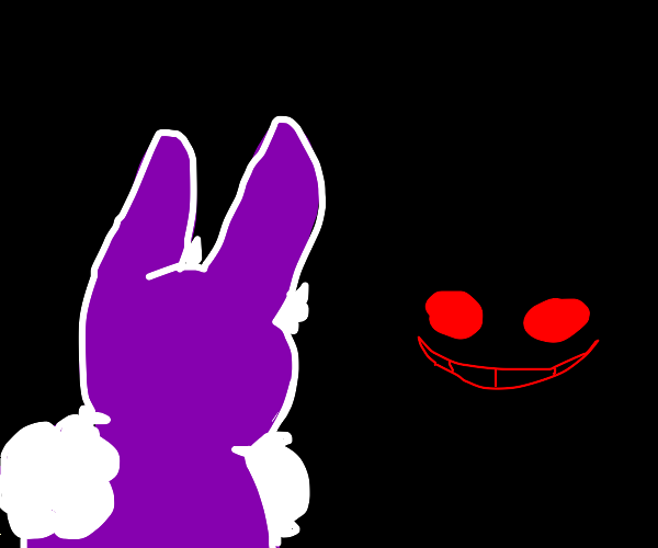 Purple Bunny sees a red face in darkness