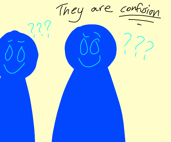 confused blue people making happy expressions