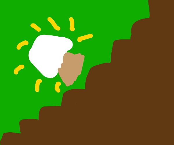 A lamp falling down an infinite staircase