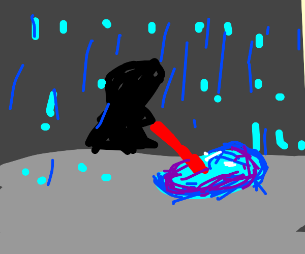Poking a puddle with a light saber in a storm
