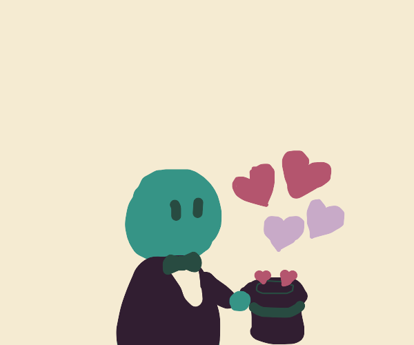 Magician conjures love from a hat