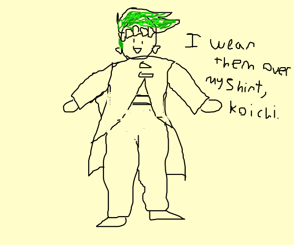 Green haired dude wears his pants over his sh