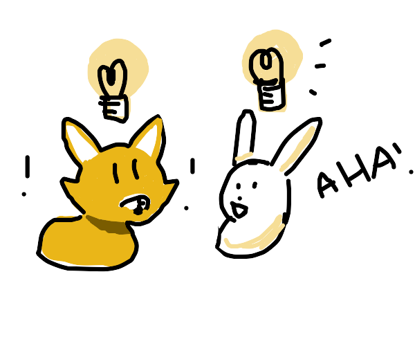 A bunny and a fox have a lightbulb moment