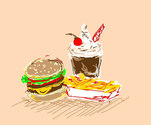 cheeseburger with fries & a chocolate shake