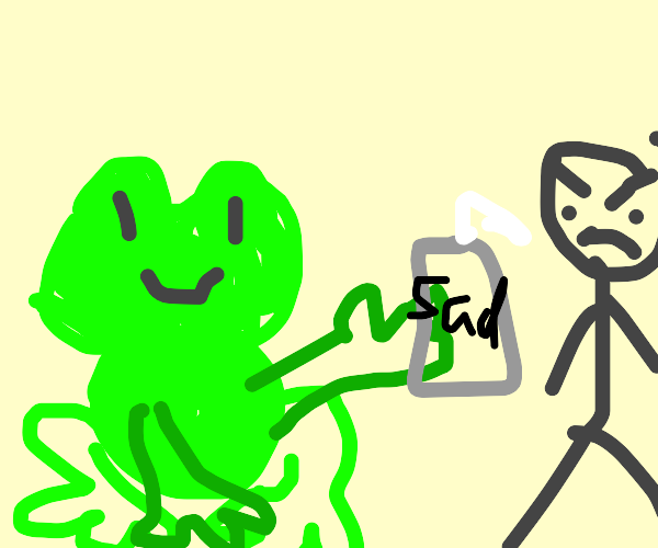 Frog gives the sad juice to angry person