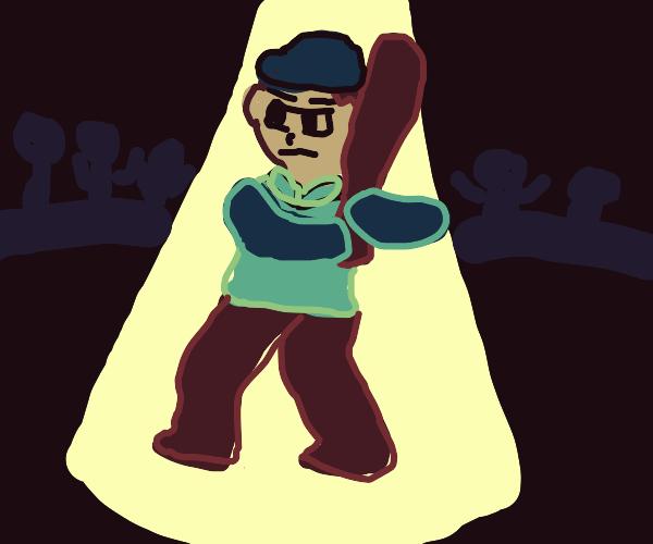 A baseball batter moment in spotlight!