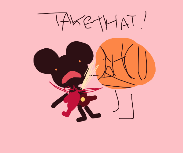 Scary Mickey Mose being stabbed by basketball