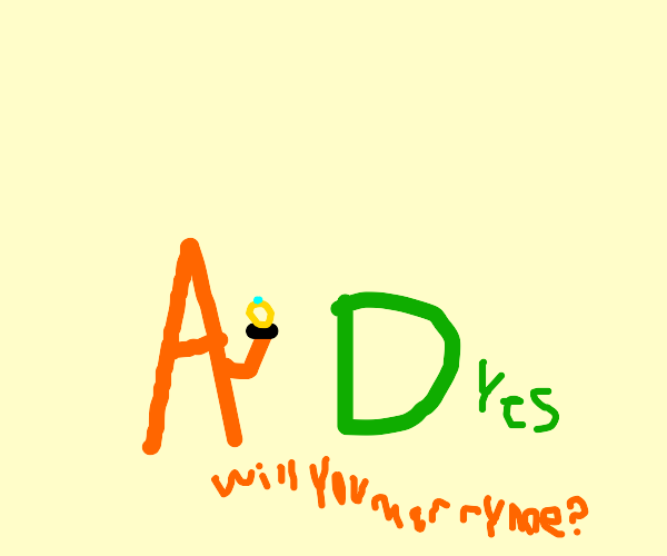 The letter A proposing to the letter D