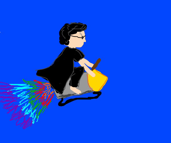 Harry potter flying with a rainbow jetpack