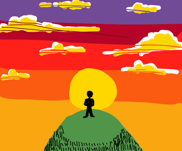Sunset silhouette of a man on a hill