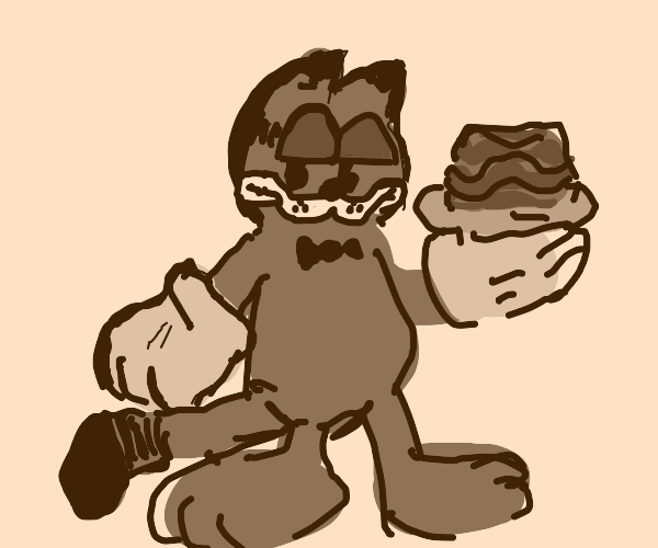 Garfield but he's in a rubber hose art style