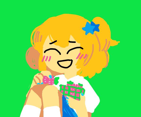 Blushing girl eats raspberries