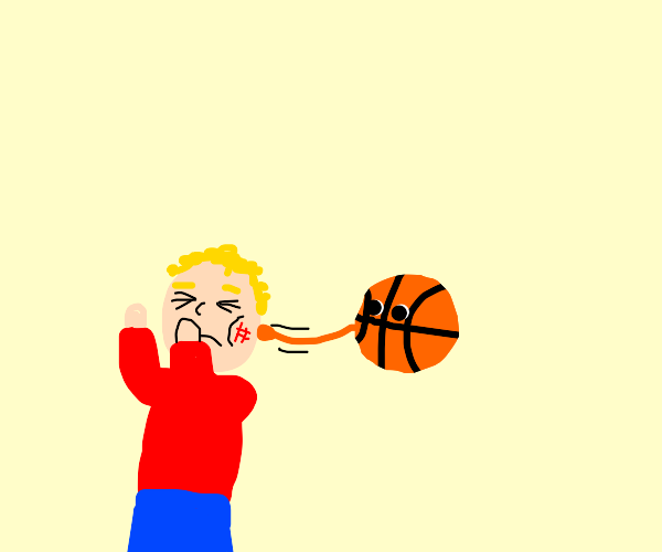 Person gets hit by a basketball