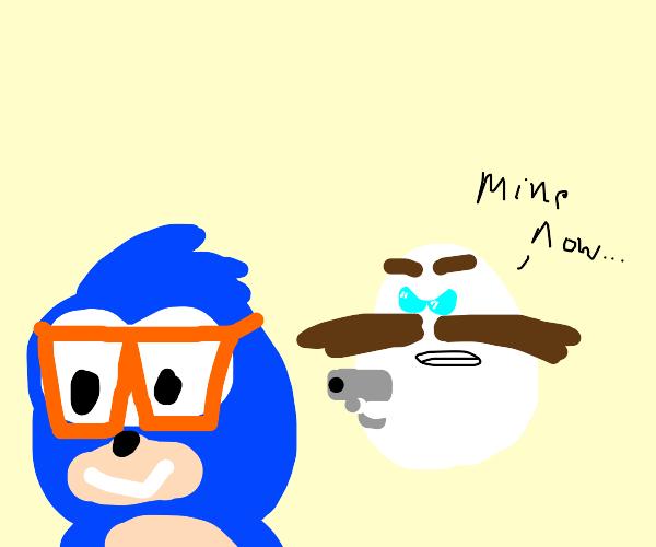egg ragefully jealous of Sonic's sunglasses
