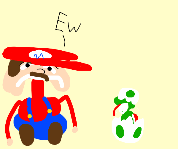 mario is disgusted by baby yoshi