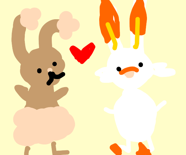 Scorbunny Falls in love with Buneary