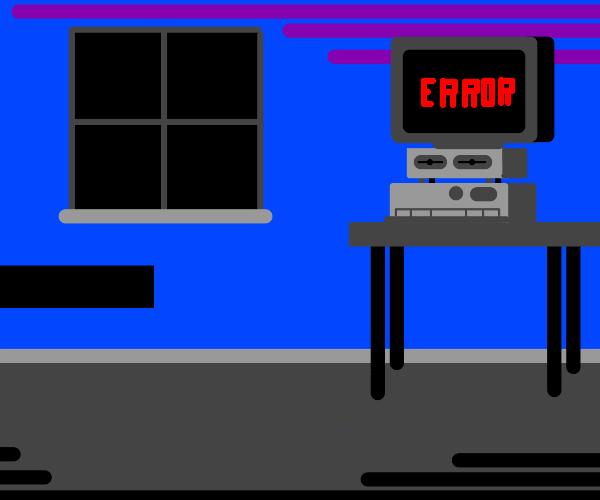 A computer screen has an error sign