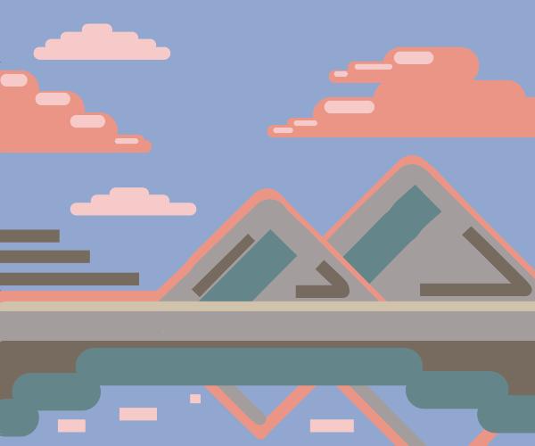Mountain horizon & clouds reflecting in water