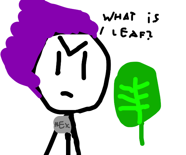 Man doesn't understand leaf at science fair