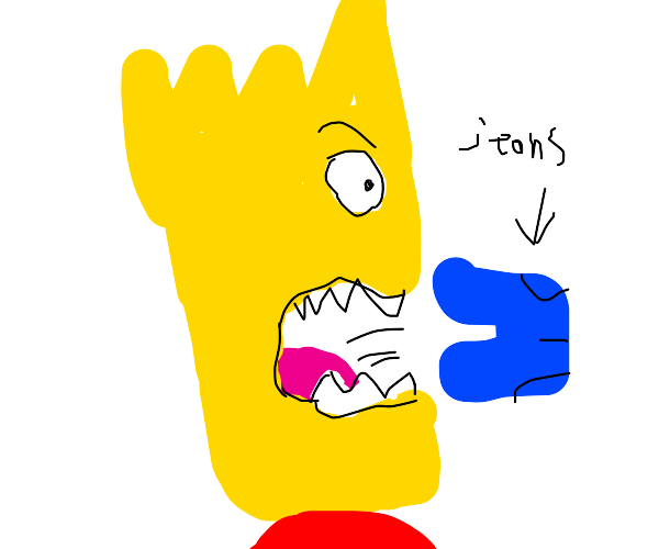 Bart Simpson inhales a pair of jeans
