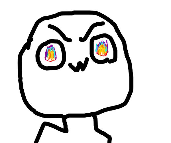 OwO guy with rainbow flaming eyes
