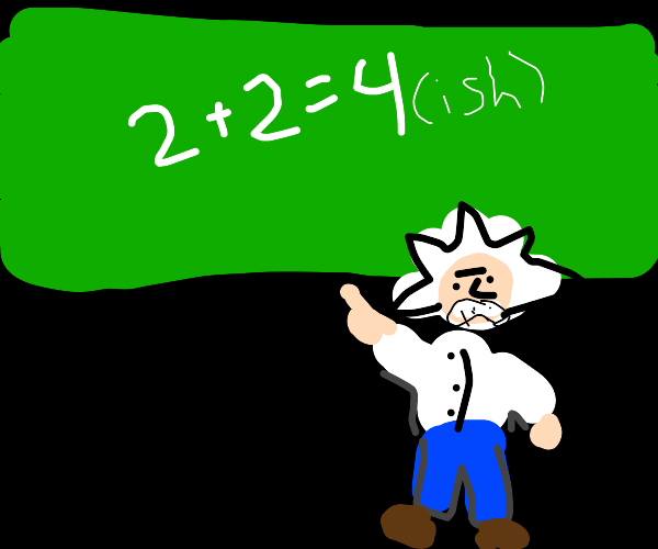 Albert Einstein pointing to his calculations