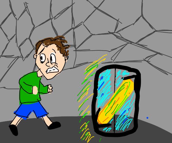 man runs straight into energy beam