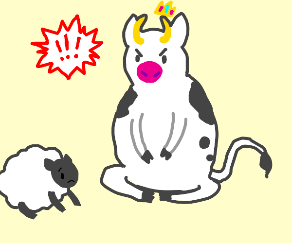 King cow harassing a peasant sheep