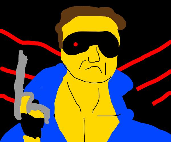 human-terminator with guns