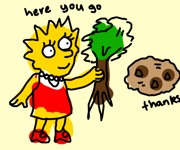 lisa simpson gives a tree a cookie
