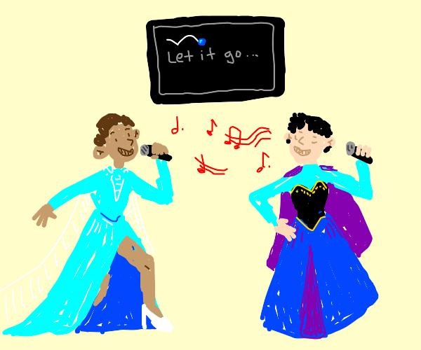 two guys in princess dress singing karaoke