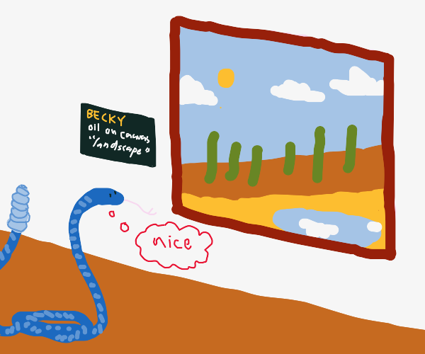 The blue snake likes to look at paintings