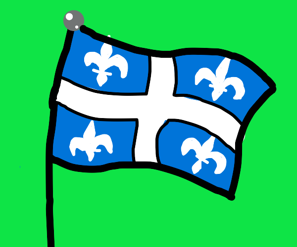 blue and black flag + Fleur-de-lys symbol