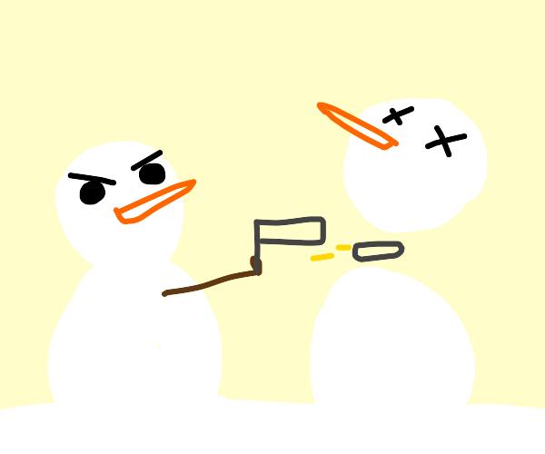 Snowman shoots another snowman
