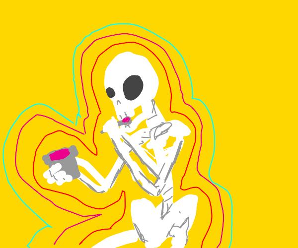 Skeleton eatin yogurt?? he kinda vibin doe