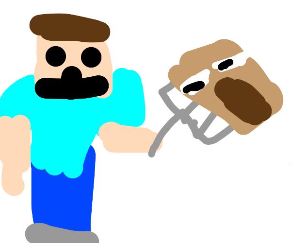 Minecraft steve eats baby villagers