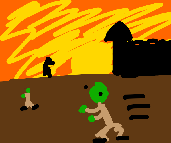 zombie wanders around the sunset